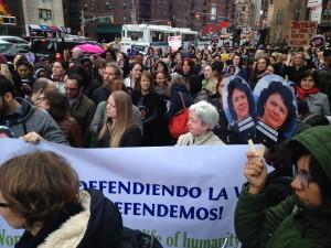 Manifestación pidiendo justicia para Bertha en Nueva York, frente las Naciones Unidas